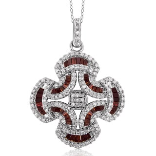 Jewelonfire Sterling Silver 3/4ct TDW Red and White Diamond Pendant ( I2-I3)