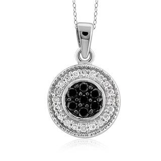 Jewelonfire Sterling Silver 1/4ct TDW Black and White Diamond Cluster Pendant ( I2-I3)