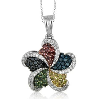 Jewelonfire Sterling Silver 1/2ct TDW Multi Color Diamond Pendant
