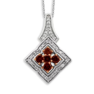 Jewelonfire Sterling Silver 1/3ct TDW Red and White Diamond Pendant ( I2-I3)