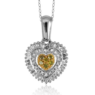 Jewelonfire Sterling Silver 1/2ct TDW Yellow and White Diamond Pendant ( I2-I3)