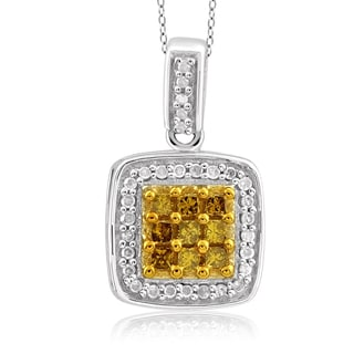 Jewelonfire Sterling Silver 1/3ct TDW Yellow and White Diamond Pendant ( I2-I3)
