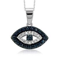 Jewelonfire Sterling Silver 1/6ct TDW Blue and White Diamond Evil Eye Pendant
