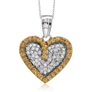 Jewelonfire Sterling Silver 1/2ct TDW Champagne and White Diamond Heart Pendant ( I2-I3)