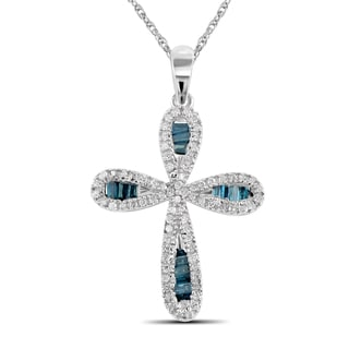 Jewelonfire Sterling Silver 1/2ct TDW Blue and White Diamond Cross Pendant ( I2-I3)
