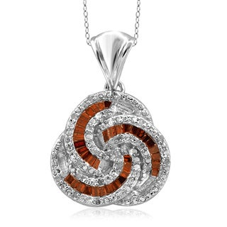 Jewelonfire Sterling Silver 1/4ct TDW Red and White Diamond Pendant ( I2-I3)