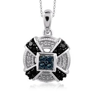 Jewelonfire Sterling Silver 1/4ct TDW Multi Color Diamond Pendant