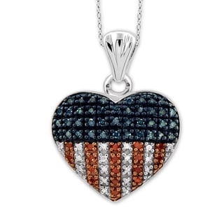 Jewelonfire Sterling Silver 1/4ct TDW Multi Color Diamond Heart Pendant ( I2-I3)