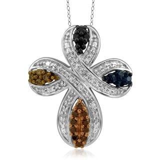 Jewelonfire Sterling Silver 1/4ct TDW Multi Color Diamond Cross Pendant ( I2-I3)