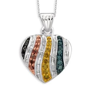 Jewelonfire Sterling Silver 1/4ct TDW Multi Color Diamond Heart Pendant ( I2-I3)