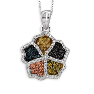 Jewelonfire Sterling Silver 1/4ct TDW Multi Color Diamond Pendant