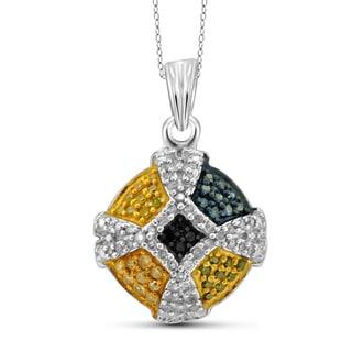 Jewelonfire Sterling Silver 1/4ct TDW Multi Color Diamond Pendant ( I2-I3)