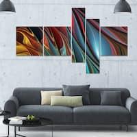 Designart 'Leaves of Color' 63x36 Contemporary Canvas Art - 5 Panels