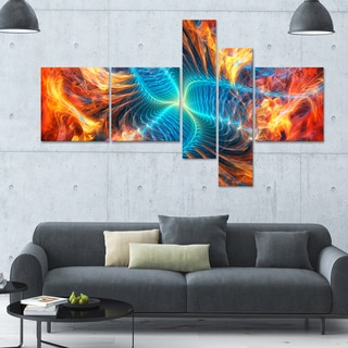 Designart 'Orange and Blue Turbine' 63x36 Contemporary Canvas Art - 5 Panels