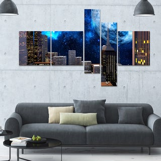 Designart ' City at Night' 63x36 Contemporary Canvas Art - 5 Panels