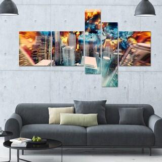 Designart ' City at Sunrise' 63x36 Modern Wall Art - 5 Panels