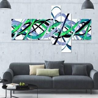 Designart 'Green and Silver Waves' 63x36 Contemporary Wall Art - 5 Panels