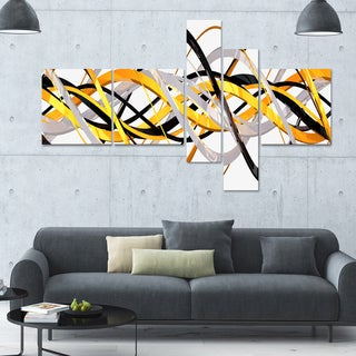 Designart 'Grey and Gold Waves' 63x36 Contemporary Wall Art - 5 Panels