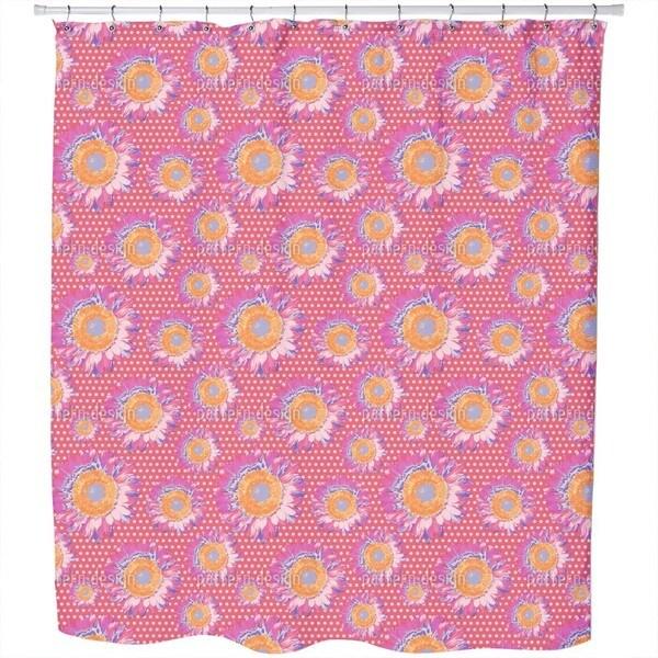 Sunflowers On Polka Dot Shower Curtain