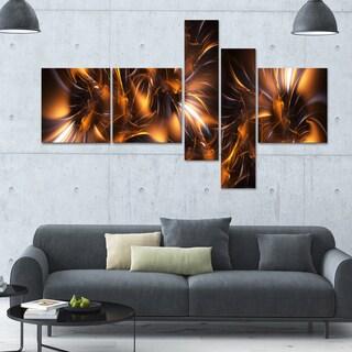 Designart 'Pink & Purple Ribbons' 63x36 Contemporary Wall Art - 5 Panels