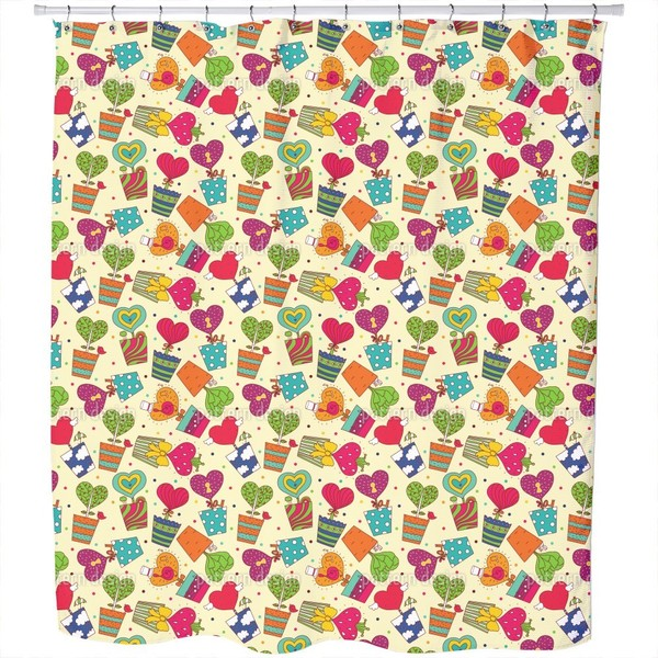 Potted Plants with Hearts Shower Curtain