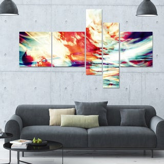 Designart 'Red Lava Ribbons' 63x36 Large Abstract Wall Art - 5 Panels
