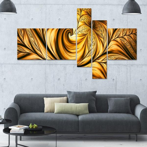 Designart 'Golden Dream' 63x36 Large Abstract Wall Art - 5 Panels