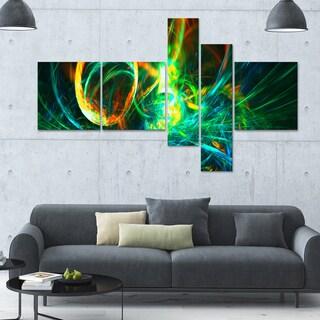 Designart 'Fire Green' 63x36 Large Abstract Wall Art - 5 Panels
