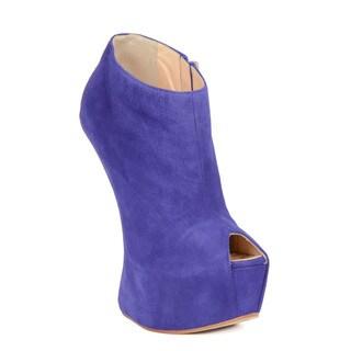 Giuseppe Zanotti Purple Suede Platform Peep Toe Booties
