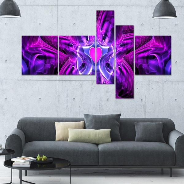 Designart 'Heart at the Center Purple' 63x36 Large Modern Canvas Art - 5 Panels