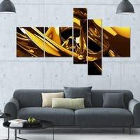 Designart 'Molten Gold' 63x36 Large Modern Canvas Art - 5 Panels - GOLD