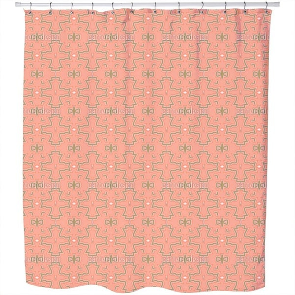 Salmon Colored Crosses Shower Curtain