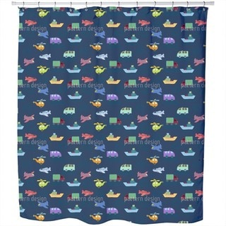Planes and Cars Shower Curtain