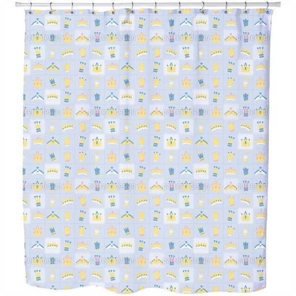 Royal Crowns Blue Shower Curtain