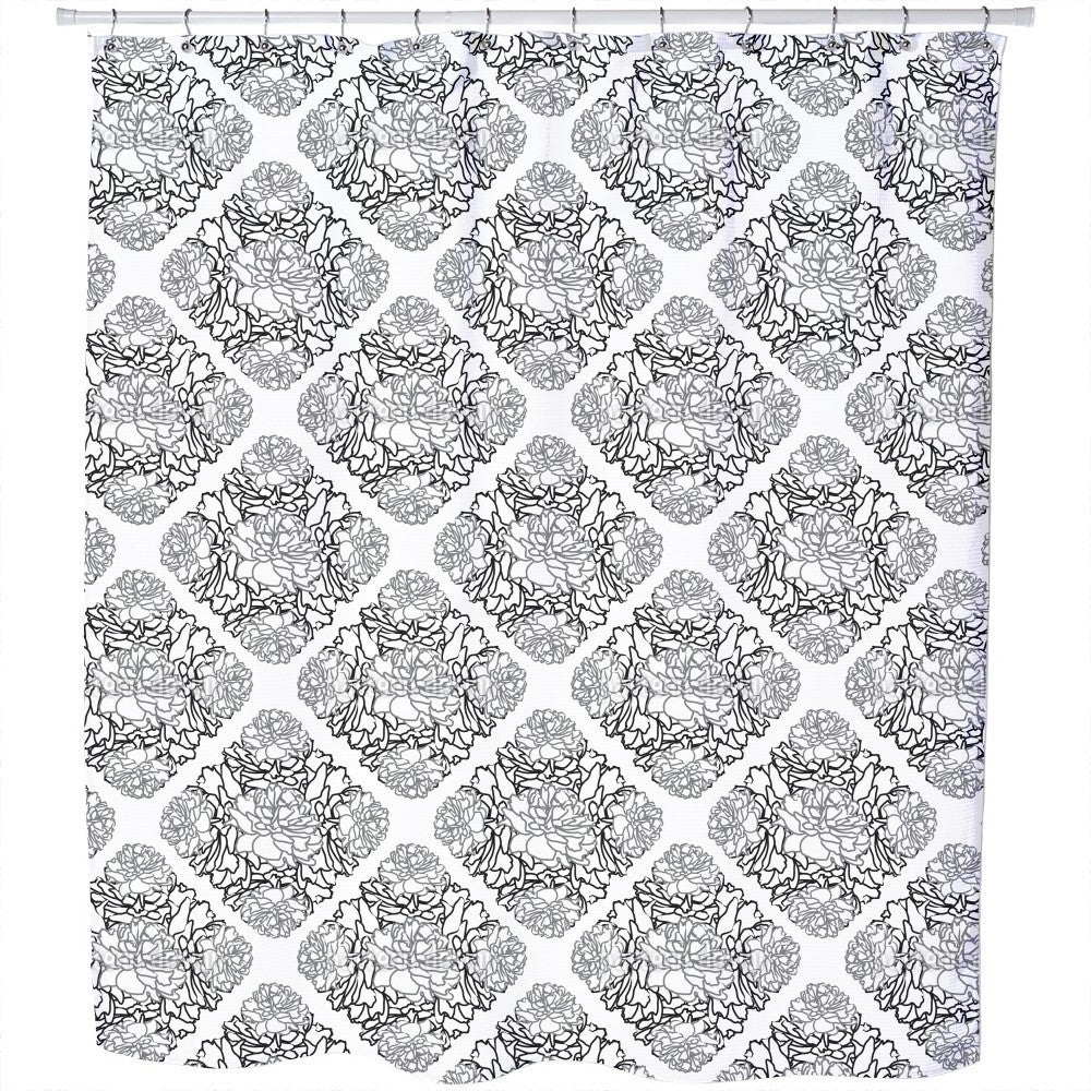 Uneekee Rose Dream Black White Shower Curtain (Extra Long...