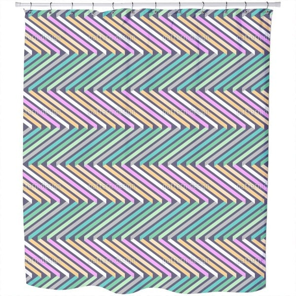 Ribbons in Zig Zag Shower Curtain