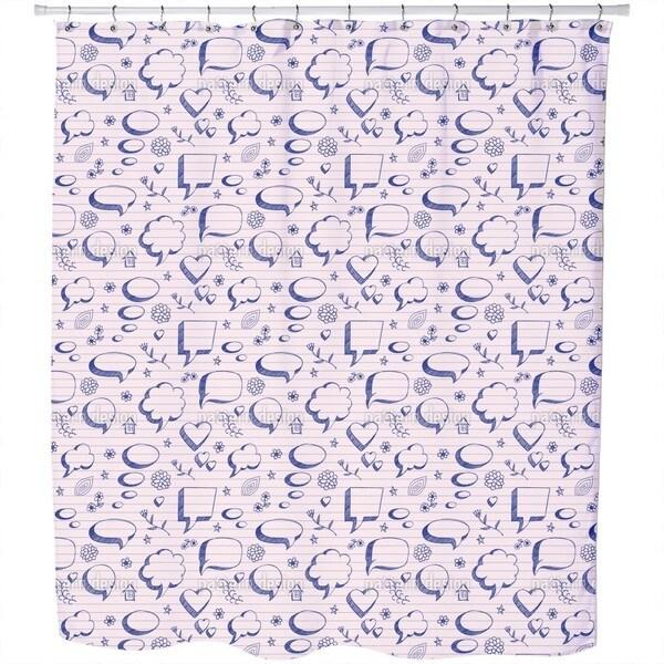 Speach Bubbles On Paper Shower Curtain