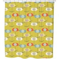 Retro Poppy Shower Curtain