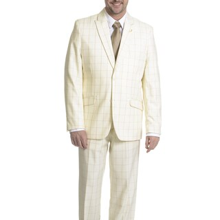 Falcone Men's Windowpane 3 Piece Suit (More options available)