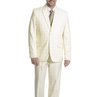 Falcone Men's Windowpane 3 Piece Suit