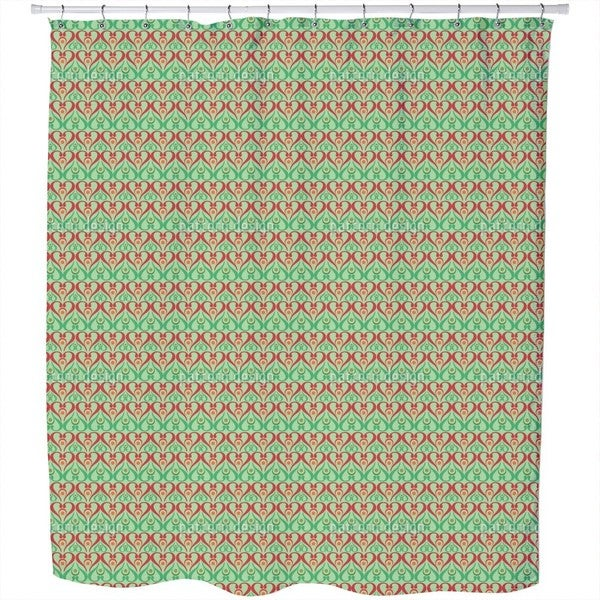 Hearts On Green Shower Curtain