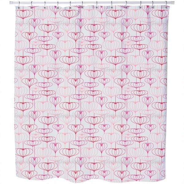 Heart Lantern Grey Shower Curtain
