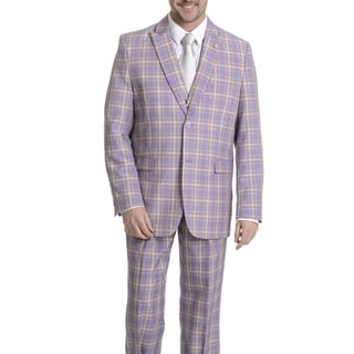 Falcone Men's Plaid 3-piece Lavender Plaid Suit