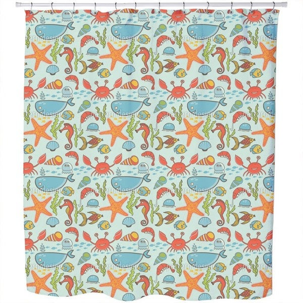 Happy Ocean Party Shower Curtain