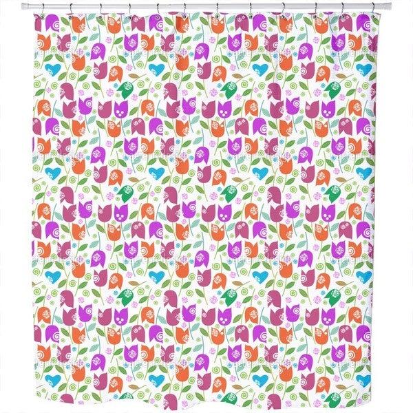 Happy Tulip Mix Shower Curtain