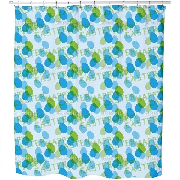 Happy Easter Blue Shower Curtain