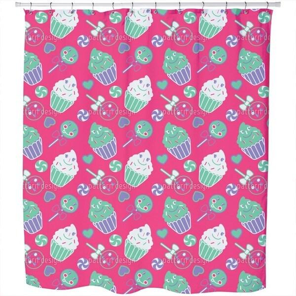 Happy Desserts Pink Shower Curtain