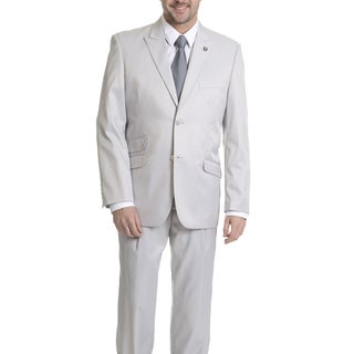 Stacy Adams Men's Pinstripe 3-piece Light Grey Suit