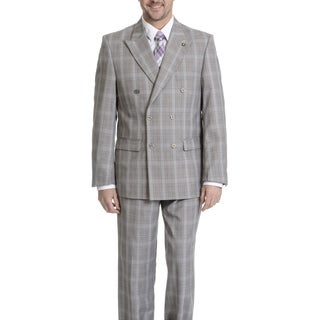 Stacy Adams Men's Plaid Double Breasted 2-piece Suit