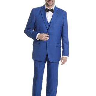 Falcone Men's Tonal Pattern 3-piece Black Tuxedo Suit